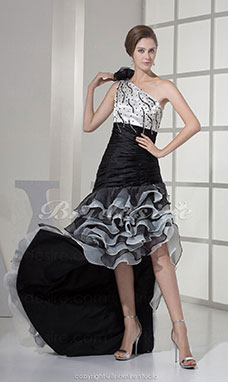 A-line One Shoulder Floor-length Sleeveless Organza Stretch Satin Dress