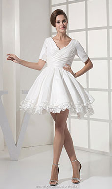 A-line V-neck Short/Mini Short Sleeve Taffeta Lace Dress