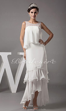 Sheath/Column Scoop Asymmetrical Sleeveless Chiffon Dress