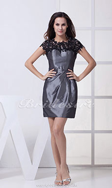 Sheath/Column Scoop Short/Mini Sleeveless Tulle Taffeta Dress