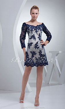 A-line Bateau Short/Mini 3/4 Length Sleeve Satin Tulle Dress