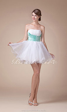 A-line Strapless Short/Mini Sleeveless Organza Dress