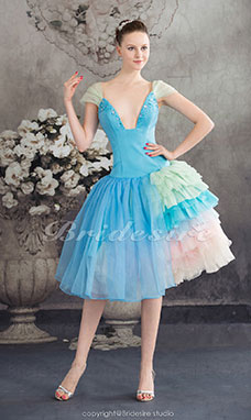 Princess V-neck Knee-length Short Sleeve Organza Satin Dress
