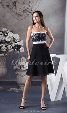 A-line Strapless Knee-length Sleeveless Satin Dress