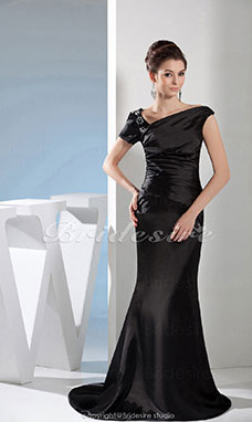 Trumpet/Mermaid V-neck Floor-length Sweep/Brush Train Short Sleeve Satin Dress