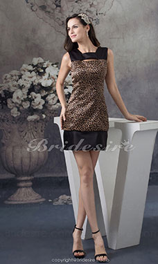 Sheath/Column Square Short/Mini Sleeveless Satin Dress