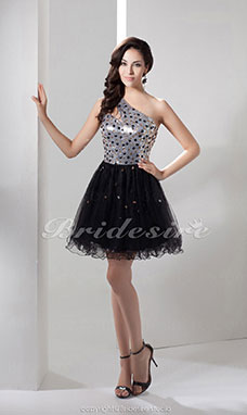 A-line One Shoulder Short/Mini Sleeveless Sequined Organza Dress