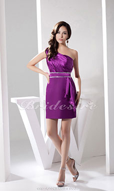 Sheath/Column One Shoulder Short/Mini Sleeveless Satin Dress