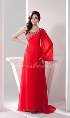 A-line One Shoulder Floor-length Sweep Train Long Sleeve Chiffon Dress