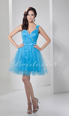 A-line Sweetheart One Shoulder Short/Mini Sleeveless Satin Dress