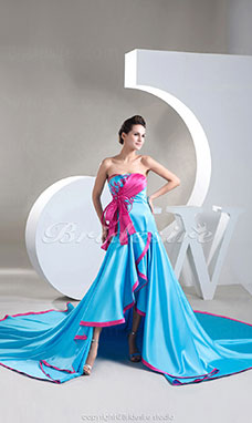 A-line Strapless Asymmetrical Cathedral Train Sleeveless Stretch Satin Dress