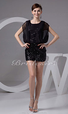 Sheath/Column Scoop Short/Mini Sleeveless Chiffon Sequined Dress