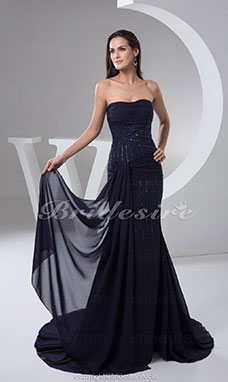 Trumpet/Mermaid Strapless Floor-length Sweep/Brush Train Sleeveless Chiffon Dress