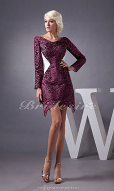 Sheath/Column V-neck Short/Mini Long Sleeve  Dress