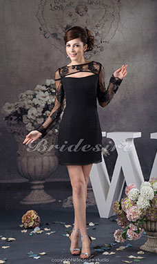 Sheath/Column Bateau Short/Mini Long Sleeve Stretch Satin Dress
