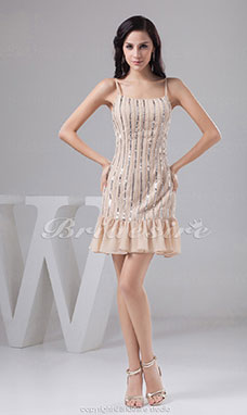 Sheath/Column Spaghetti Straps Short/Mini Sleeveless Chiffon Dress