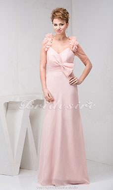 A-line V-neck Floor-length Short Sleeve Chiffon Tulle Dress