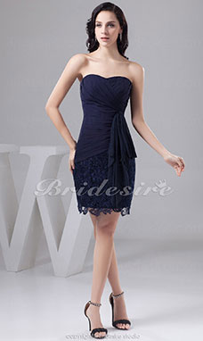 Sheath/Column Strapless Short/Mini Sleeveless Chiffon Lace Dress