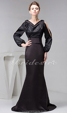 A-line Bateau Sweep Train Long Sleeve Satin Dress