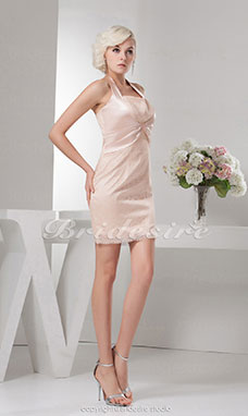 Sheath/Column Halter Knee-length Sleeveless Satin Dress