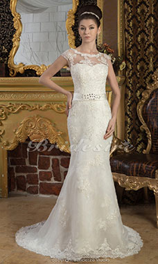 Trumpet/Mermaid Sweetheart Floor-length Court Train Short Sleeve Satin Lace Wedding Dress