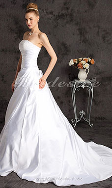 A-line Sleeveless Satin Chapel Train Strapless Luxury Wedding Dress