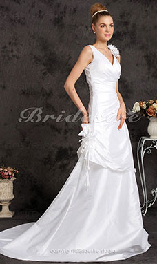 A-line Taffeta Court Train V-neck Wedding Dress