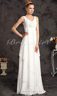 Empire Sheath/ Column Chiffon Over Satin Floor-length Straps Maternity Wedding Dress