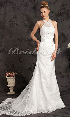 Mermaid/Trumpet Lace Tulle Court Train High Neck Wedding Dress