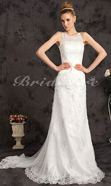 Mermaid/Trumpet Tulle Cathedral Train Scoop Wedding Dress