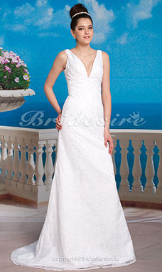 Sheath/ Column Lace Sweep/ Brush Train V-neck Wedding Dress inspired by Katherine Heigl