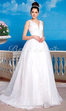 Empire Sweep / Brush Train Sleeveless V-neck Wedding Dress