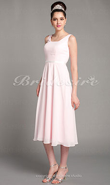 Sheath/Column Satin Tea-length Scoop Bridesmaid Dress