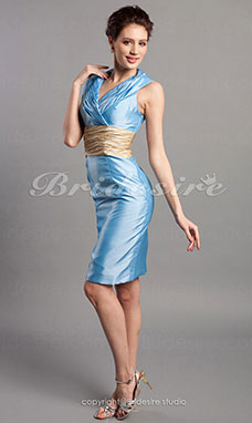 Sheath/ Column Taffeta Knee-length V-neck Bridesmaid Dress