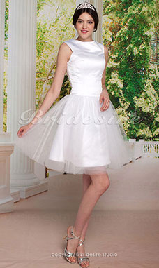 Audrey Hepburn Funny Face Ball Gown Knee-length Satin Tulle Bateau Wedding Dress