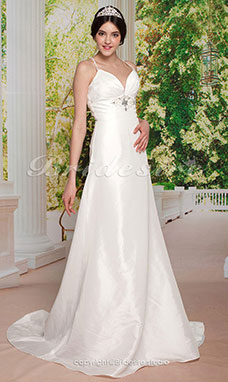 Sheath/ Column V-neck Court Train Straps Elastic Woven Satin Wedding Dress