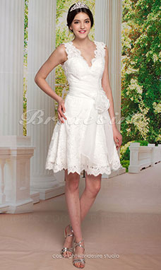A-line Knee-length Lace V-neck Wedding Dress