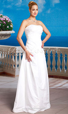 A-line Charming Tulle Floor-length Strapless Wedding Dress