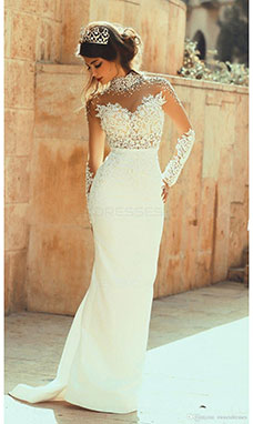 Sheath/Column High Neck Long Sleeve Satin Wedding Dress