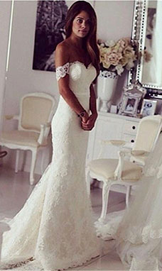 Trumpet/Mermaid Off-the-shoulder Sleeveless Lace Wedding Dress