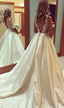 Ball Gown Square Sleeveless Satin Wedding Dress