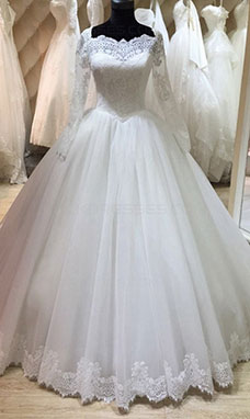 Ball Gown Square Long Sleeve Tulle Wedding Dress