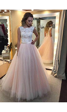A-line Scalloped-Edge Sleeveless Tulle Wedding Dress