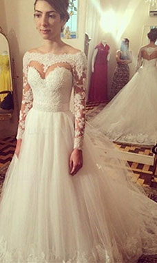 A-line Off-the-shoulder Long Sleeve Tulle Wedding Dress