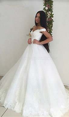 Ball Gown Off-the-shoulder Sleeveless Organza Wedding Dress