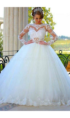 Ball Gown Bateau Long Sleeve Tulle Wedding Dress