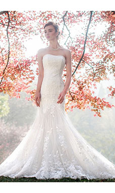 Trumpet/Mermaid Strapless Sleeveless Lace Wedding Dress