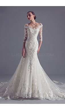 Trumpet/Mermaid Scoop 3/4 Length Sleeve Lace Wedding Dress