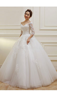 Ball Gown V-neck 3/4 Length Sleeve Tulle Wedding Dress