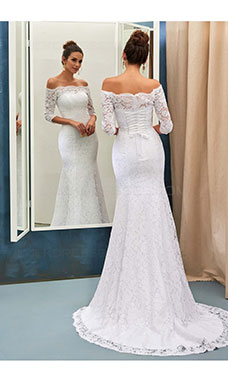 Trumpet/Mermaid Off-the-shoulder 3/4 Length Sleeve Lace Wedding Dress